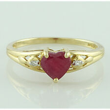 Solid Gold Ruby GF & Diamond Solitaire with Accents 1.1 ctw Ring GSR1013