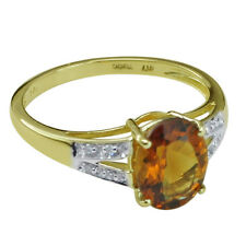 Solid Gold Madeira Citrine & Diamond Solitaire with Accents GSR399