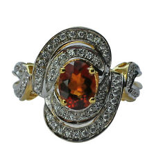 Solid Gold Madeira Citrine,Cubic Zirconia Solitaire 2.49 ctw Ring GSR588