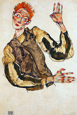 Self Portrait with Striped Armlets by Egon Schiele Art Print