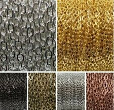 5M/100M Silver Golden Plated Cable Open Link Iron Metal Chain Findings 6 Colors