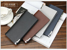 Men Super Slim Bifold Leather Clutch Wallet ID Card Holder Long Purse Checkbook