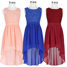 Kids Girls Lace Sleeveless Formal Chiffon High Low Dress Evening Party Dresses