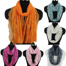 Fashion Women's Floral Hollow Lace Thin Mesh Long Scarf Shawl/Infinity Scarf New