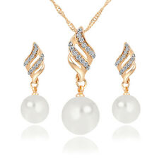 Chic Helical Necklace with Vivid Pearl Earrings Jewelry Set Free Shipping