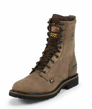 Justin Mens Wyoming Leather Work Boots Waterproof Lace-Up 8in