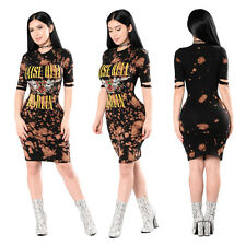 Hot Sexy Women Short Sleeve Casua Dress Bodycon Floral Midi Skirt Floral Tight
