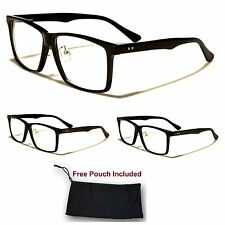 Unisex Men Women Nerd Wayfarer Black Plastic Retro Designer Clear Lens Glasses