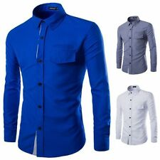 hot Fashion Mens Luxury Stylish Casual Dress Slim Fit T-Shirt Casual Long Sleeve