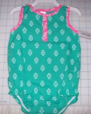 CARTERS GIRLS BABY ONE PIECE GREEN WITH WHITE DESIGN 6 MONTHS NEW WITH TAGS