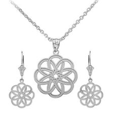 Sterling Silver Celtic Knot Round Flower Pendant Necklace & Matching Earrings
