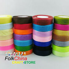50Yds Roll of 25mm Quality Woven Edge Sheer Organza Ribbon Sewing Wedding Craft