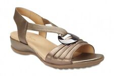NEW Wide Steps Chase Pewter Leather Sandals Womens Shoes Wide Fit C+ Fit