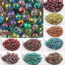 Lots Top Mixed Colours 'OILY DRIZZLE' Glass Drawbench Round Charms Beads Crafts