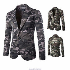Men's Casual One Button Camouflage Military Slim Fit Blazer Suit Coat Jackets