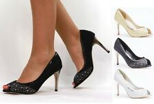 LADIES DIAMANTE WOMENS KITTEN MID HEEL BRIDAL WEDDING PROM PARTY SHOES 3-8