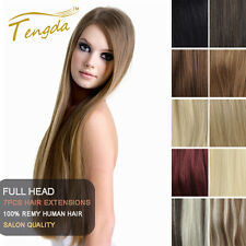 Full Head Clip in Remy Hair Extension 100% Real Human Hair Any Color 14''-24''