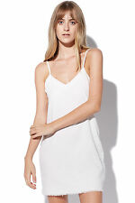New MINKPINK Womens White Heat Raw Hem Dress White