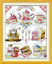 Cookie time and Tea time cross stitch kits 18ct 14ct 11ct counted printed fabric