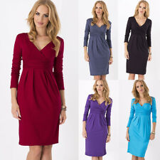 Fashion Womens Pregnant Maternity Pleated Bodycon Evening Party Mini Tunic Dress