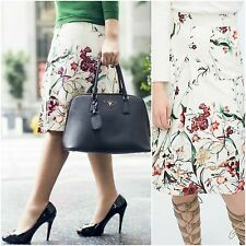 ZARA Woman BNWT Authentic Off White Floral Front Pleat Skirt XS S M L 2252/627