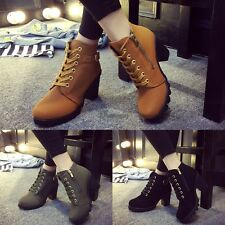 Fashion Women Lace Up Platform Block High Heel Ankle Boot Size 35-40 WT8802