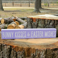 Bunny Kisses & Easter Wishes Wooden Shelf Sitter - 6 Colors to Choose From!