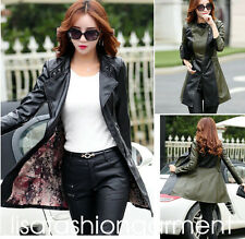 2017 spring womens girls punk Faux Leather winter jacket long trench coat parkas