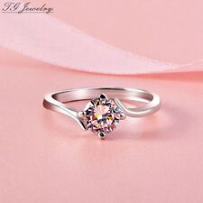 1.00CT 14k White Gold Round Cut Moissanite 4 Prong Solitaire Engagement Ring