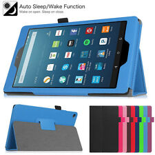 Folio Leather Cover Stand Case For Amazon Kindle Fire HD 8 2016 6th Gen / 7 2015