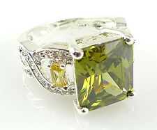 Gorgeous Woman Princess Cut 2.95ct Peridot 925 Silver Wedding Ring Size 6-10