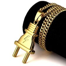 Hip Hop Plug Hook 18K Gold Men Necklace Pendant Jewelry Box Chain for Gift Hot T