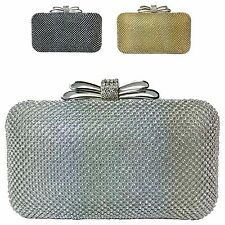 Ladies Designer Diamante Box Clutch Bag Evening Bridal Party Bag Purse M802-2