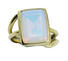 Fire Opal CZ Gold Plated Ring elegant White india AU K,M,O,Q