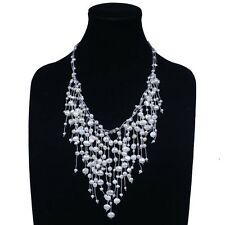 3 Rows Strands Natural Freshwater Baroque 3-8mm Pearl Neclace Pendant 25''