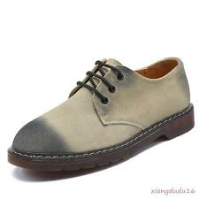 Mens Oxford Faux suede Dress formal Chunky heel Lace-up Low top Casual Shoes