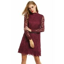 Women's Stand Collar Long Sleeve Ruffles Cocktail Party Lace Shift Dress WT8801