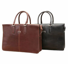 Tony Perotti Bella Fellini Double Compartment Leather Laptop Briefcase