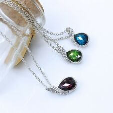 Fashion Womens Multicolor crystal Gold Plated pendant necklace Sweater chain