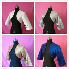 New Style Shrug Wedding Jacket Stole Bolero Evening Dress 3/4 Sleeve Royal blue