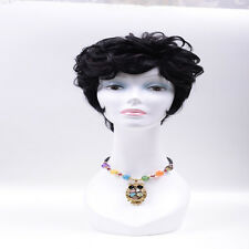 New Womens short Brazilian Black Straight/curl Natural Remy Wig Hair Full Wigs