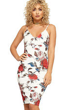 Womens Camisole Bodycon Dress Ladies Floral Print Knee Length Sleeveless New