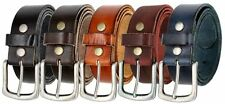 "Vintage Full Grain Genuine Leather Casual Work Belt  1 1/2"" Wide Nickle Buckle"