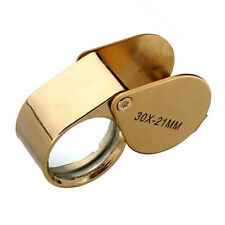 Golden 30X21mm Jewelers Eye Loupe Magnifier Magnifying glass Lens With Case
