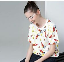 Women Summer Fashion Casual Printed Loose Batwing Sleeve Top Shirt