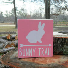 Bunny Trail Wooden Shelf Sitter - 6 Colors to Choose From! - Easter Bunny