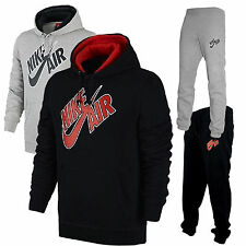 NEW MENS NIKE AIR PIVOT RUBBER GREY BLACK TRACKSUIT HOODIE BOTTOMS JOGGERS
