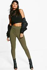 Boohoo Womens Amya High Waisted Ribbed Leggings