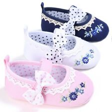 Infant Toddler Baby Girl Princess Bow-knot Embroidery Crib Shoes 0-18 Months New