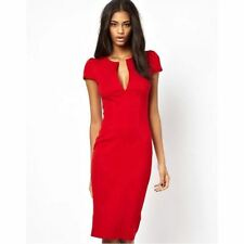 Women Deep V Neck Low-Cut Slim Sleeve Solid Sheath Knee-Length Dress